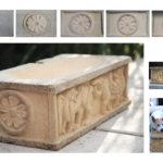 Sandstein-Wassertrog nach romanischen Vorbildern.